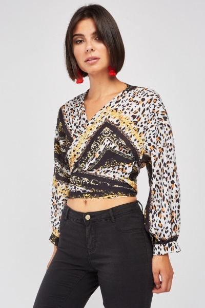 Baroque Animal Contrast Blouse