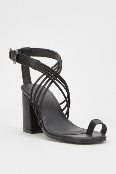 Criss-Cross Strap Block Heel Sandals