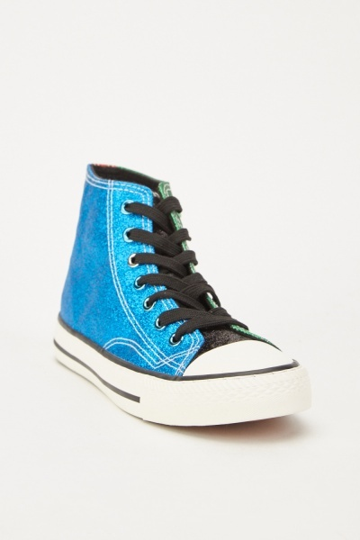 Glittery Colour Block High Top Sneakers