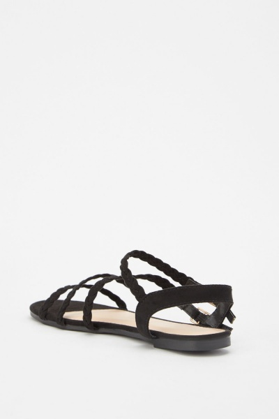 Suedette Plait Twin Buckle Sandals