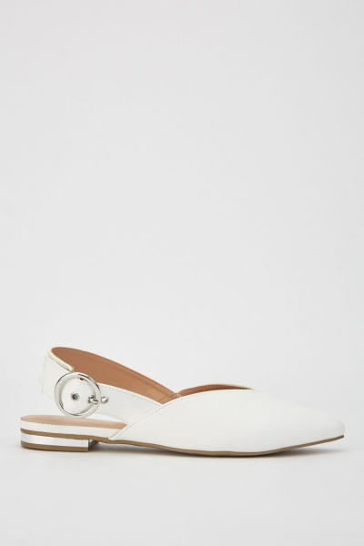 White Pointed Toe Buckle Shoes