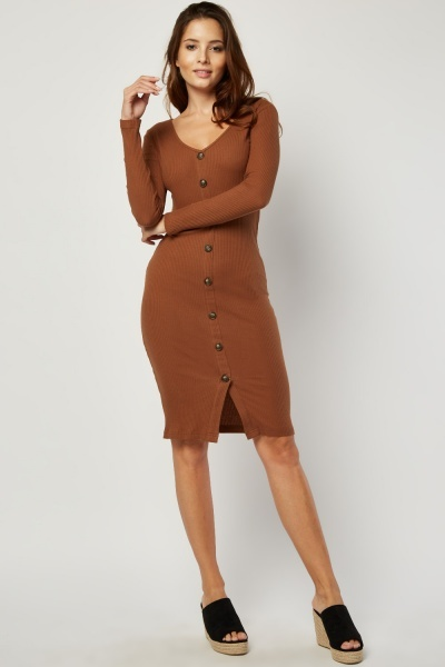 Button Trim Midi Rib Dress