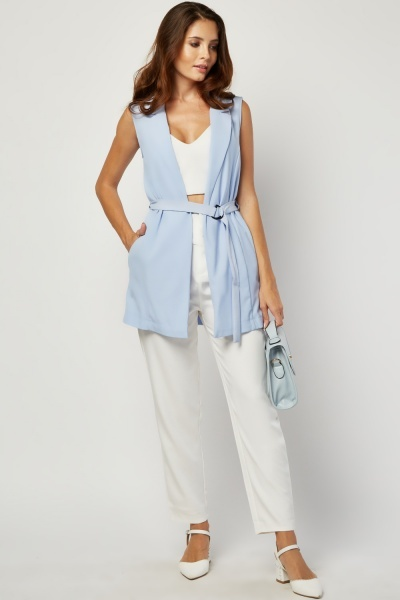 D-Ring Belted Sleeveless Duster Coat