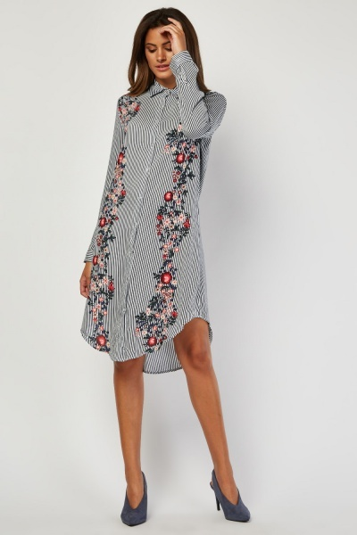 Floral Panel Stripe Shirt Dress