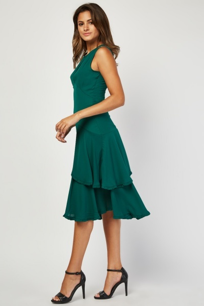 Keyhole Front Tiered Dress