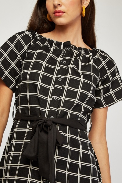 Belted A-Line Window Pane Dress