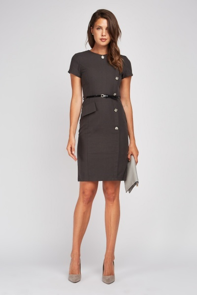 Button Trim Wrap Pencil Dress