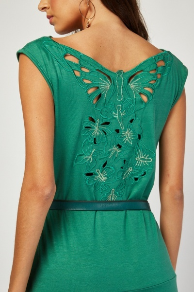 Embroidered Laser Cut Butterfly Back Dress
