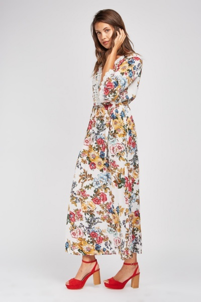 Lace Up Crochet Trim Print Maxi Dress