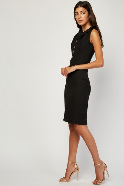 Sleeveless Textured Collared Dress