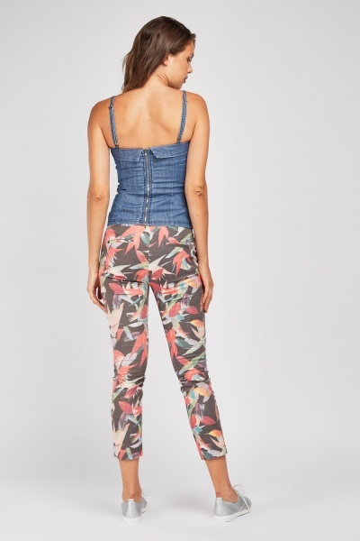 Tropical Leaf Print Cigarette Trousers