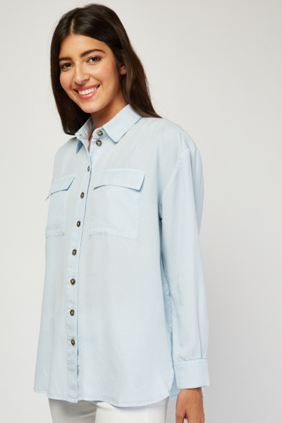 Twin Pocket Front Sky Blue Shirt