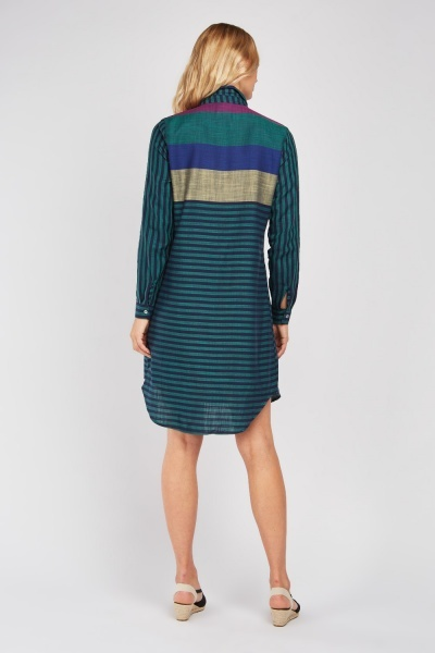 Colour Block Stripe Shirt Dress