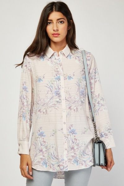 Textured Long Sleeve Printed Shirt