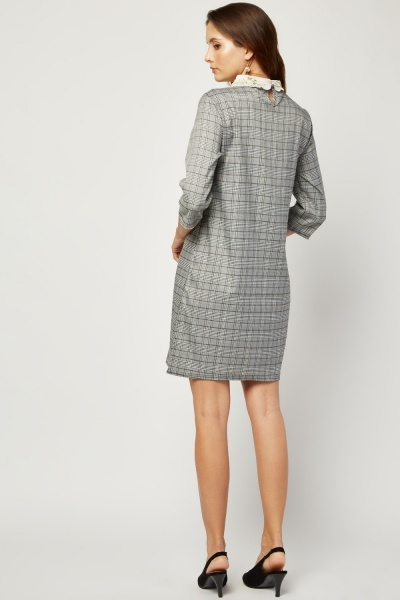 Embroidered Collar Plaid Shift Dress