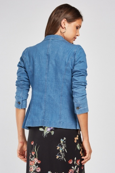 Lapel Front Fitted Denim Blazer
