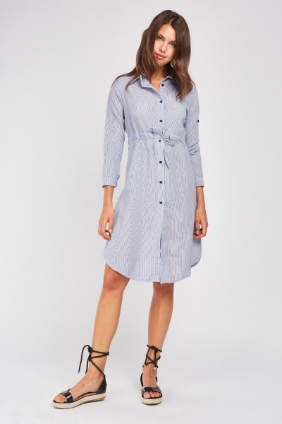 Tie Up Stripe Shirt Dress