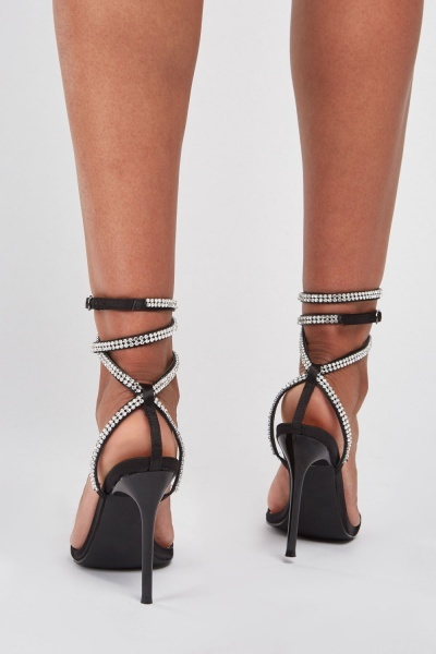 Encrusted Tie Up Heels