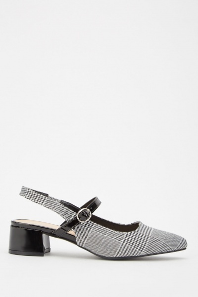 Houndstooth Patterned Block Heels