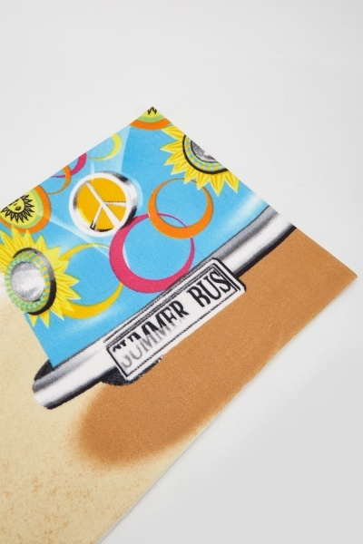 Tropical Bus Print Beach Towel