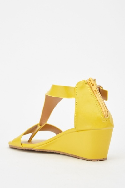 Yellow Ankle Wedge Sandals