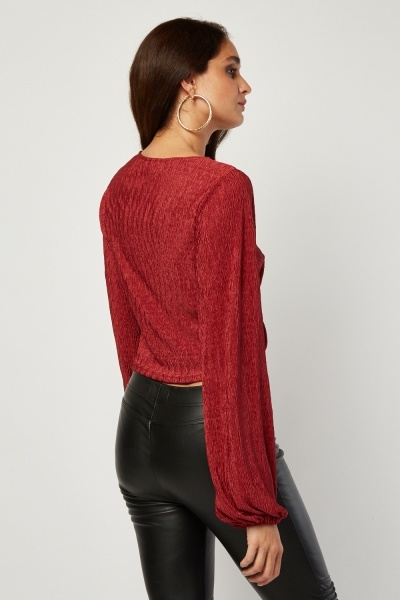 Ruched Front Red Plisse Top