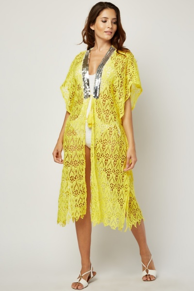 Sequin Embellished Crochet Beach Cover Up