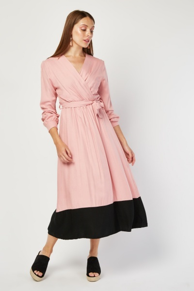 Two-Tone Tie Up Wrap Dress