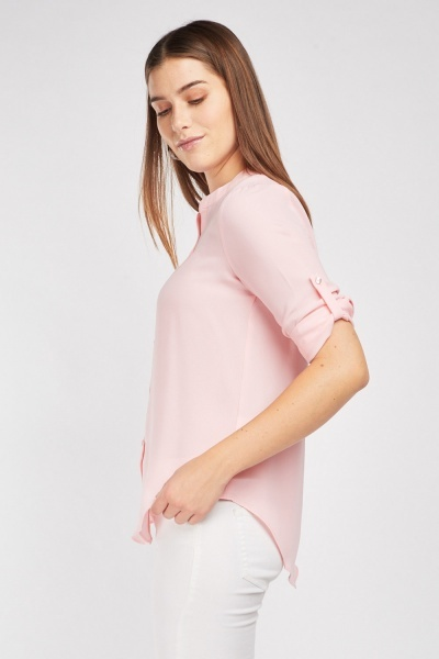 Button Front Pink Blouse
