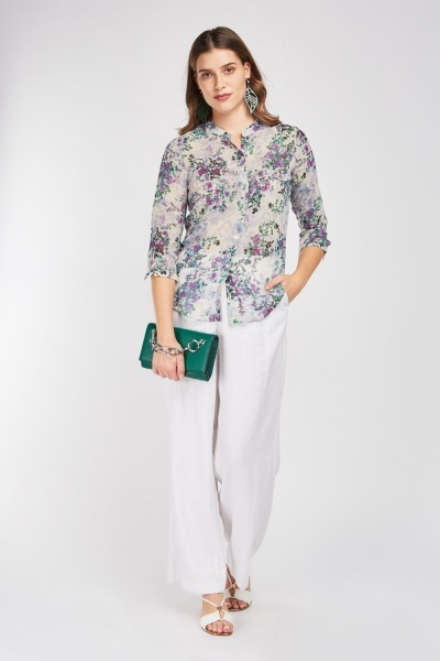 Calico Print Sheer Blouse