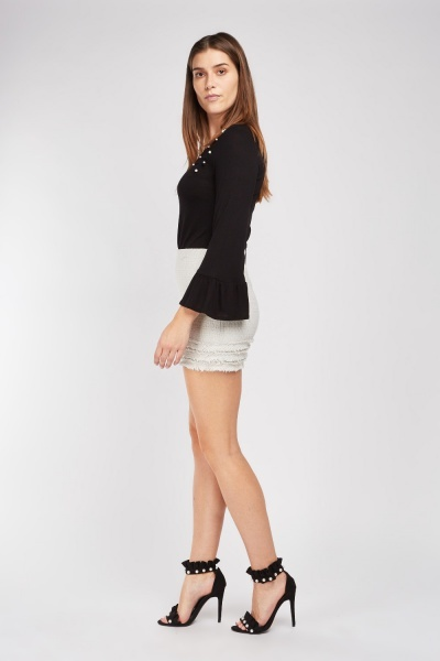 Faux Pearl Trim Bell Sleeve Top