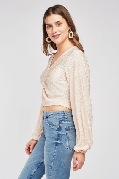 Ruched Front Textured Top