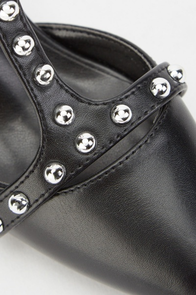 Black Studded Court Mid Block Heels