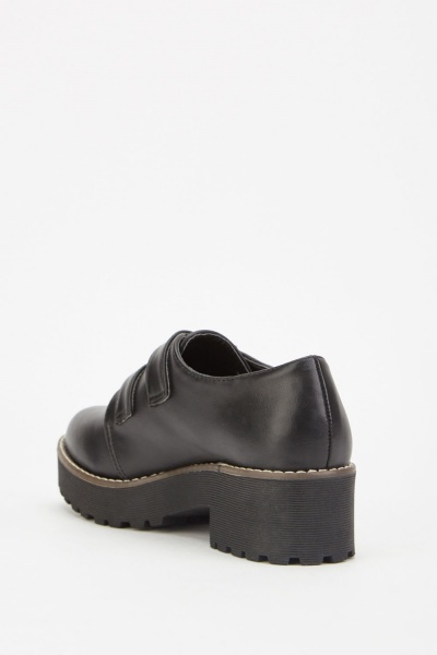 Faux Leather Buckled Shoes