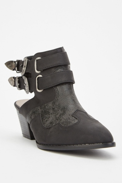 Hi-Shine Cut Out Buckle Boots