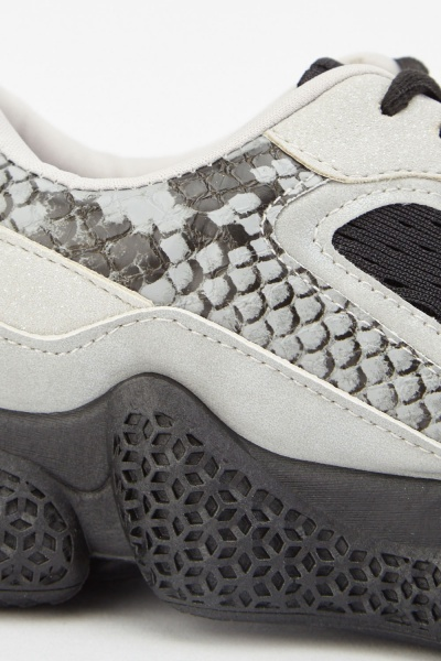 Snake Print Contrast Low Top Trainers