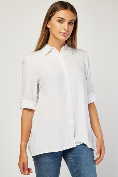 Button Front Plain Shirt