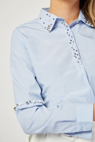 Faux Pearl Trim Tunic Shirt