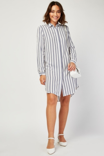 Gingham Panel Contrat Shirt Dress