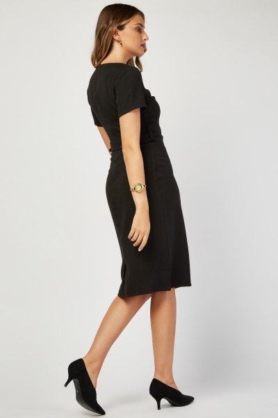 O-Ring Belted Midi Dress
