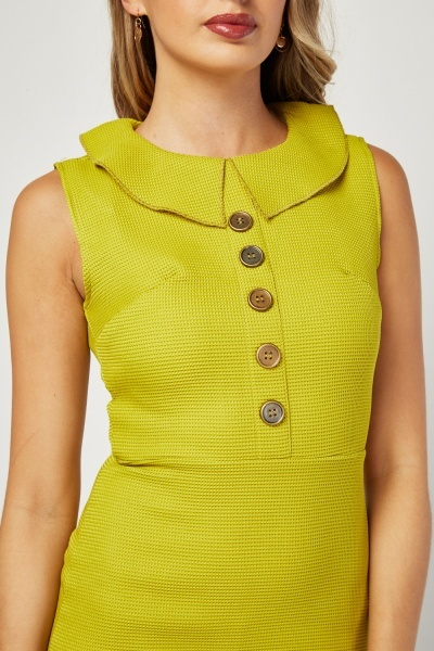 Sleeveless Textured Midi Collared Dress