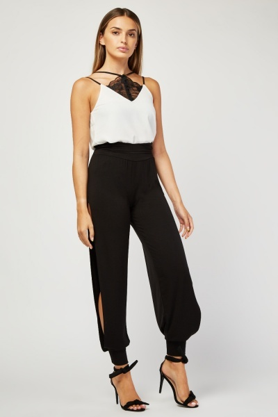 Slit Side Black Jersey Trousers