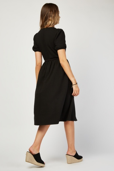 Textured Belted Smock Midi Dress