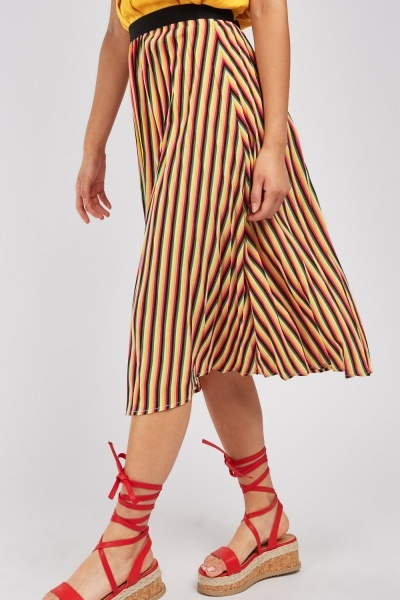 Multi-Stripe Pleated Midi Skirt