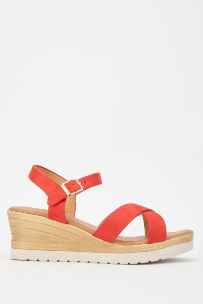 Criss Cross Strap Wedge Sandals