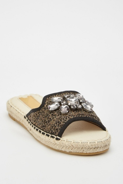 Encrusted Braided Espadrille Style Sliders