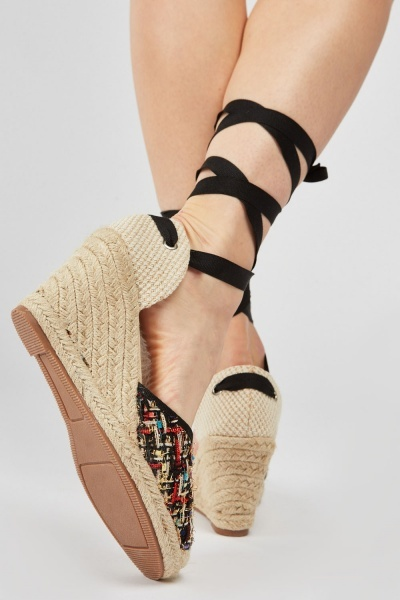 Metallic Tweed Espadrille Wedge Shoes