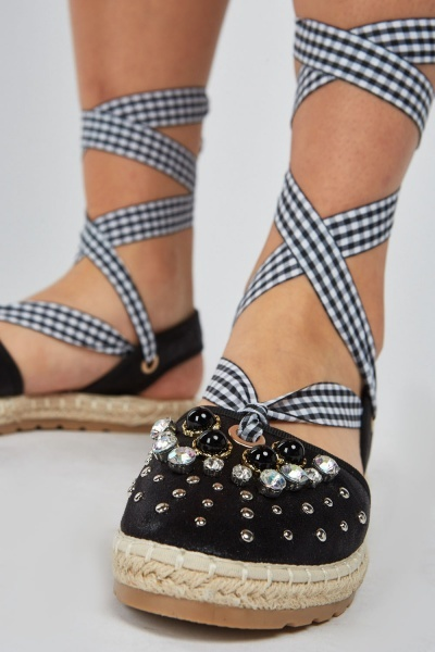 Studded Gingham Tie Up Espadrilles