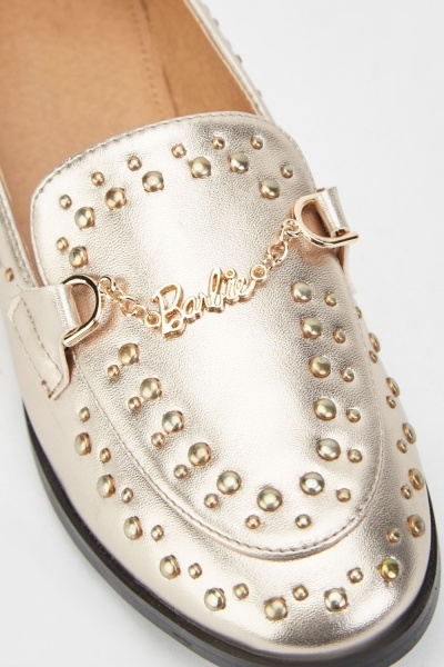 Studded Metallic Loafers