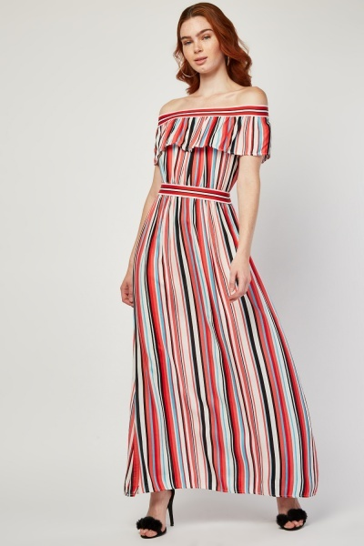 Candy Stripe Off Shoulder Maxi Dress